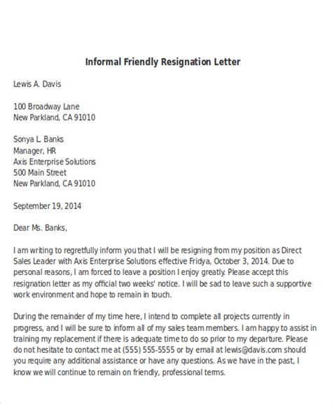 sle informal resignation letter 4 exles in pdf word