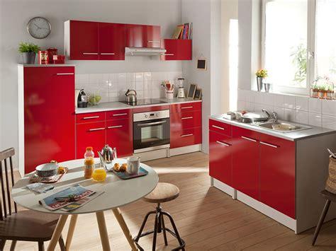 meuble cuisine rouge conforama