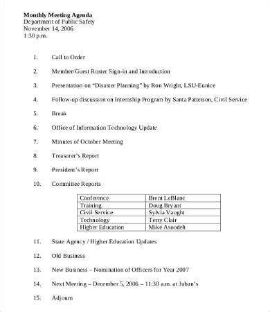 monthly meeting minutes template department meeting agenda template 9 free word pdf