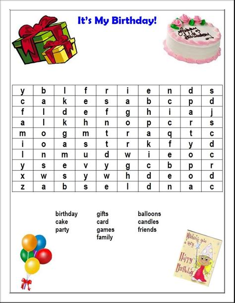 Birthday Search Printable Birthday Word Search Activity Shelter