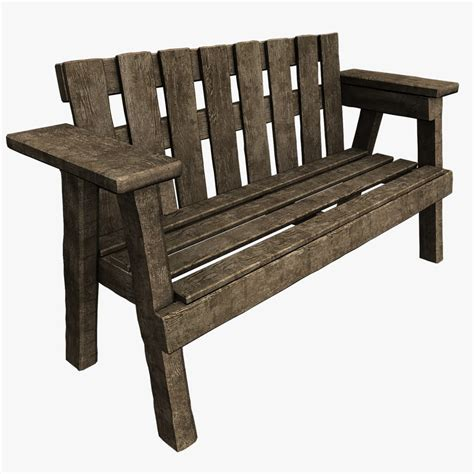 old park benches 3d old park bench model