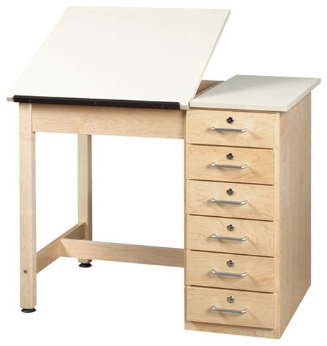 Shain Split Top Drafting Table With Drawer Base Split Drafting Table