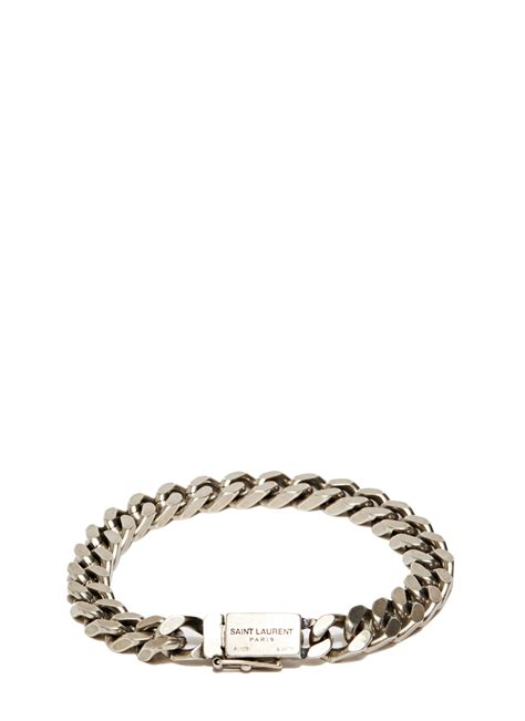 Saint laurent Gourmette Silver Chain Bracelet in Metallic for Men   Lyst
