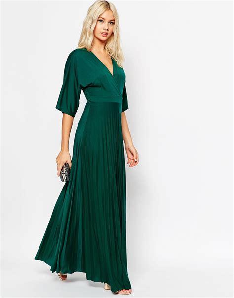 Greeny Maxi Dress lyst asos maxi dress with pleated hem and kimono sleeve
