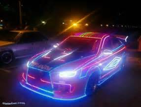 Neon Lighting Car Sports Car Decked Out In Led Lights Neon Rod Baybeh