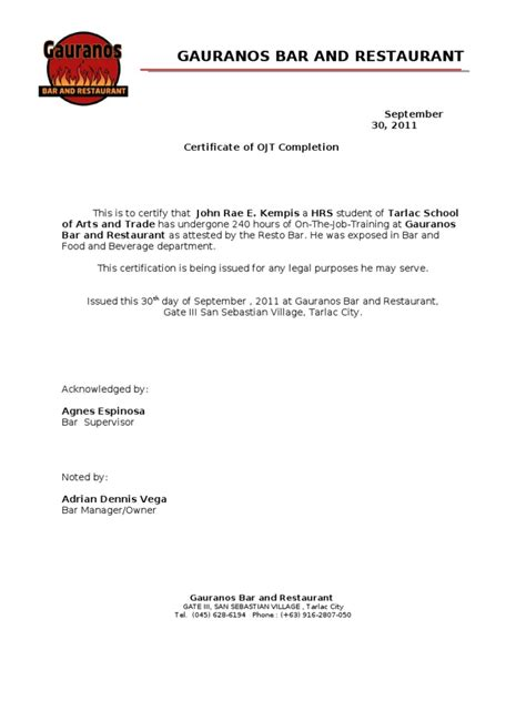 certificate of completion ojt template ojt certificate