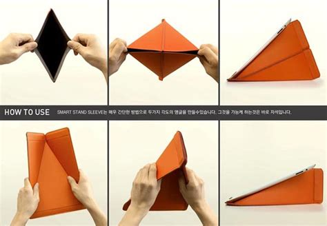 Origami Picture Stand - origami inspired smart stand protective sleeve gadgetsin