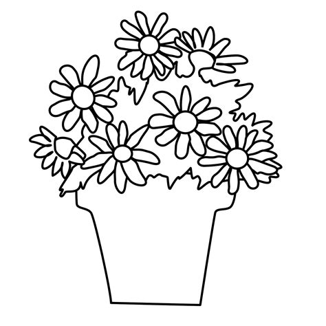 coloring pages of flowers in a pot best flower pot template coloring pages pictures free