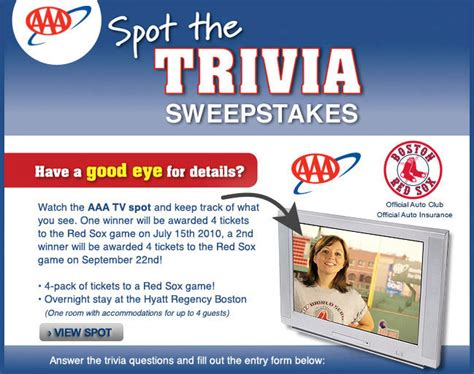 Www Aaa Com Sweepstakes - aaa spot the trivia sweepstakes boston red sox