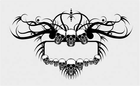 grunge skulls frame vector
