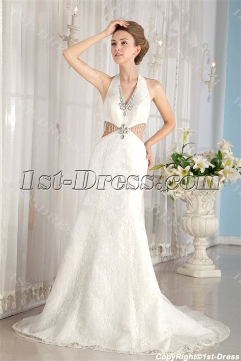 Sheath Halter Sexy Lace Summer Wedding Dress:1st dress.com