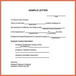 sample employment verification letter bio example