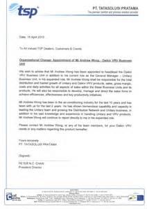 Sle Organizational Change Announcement by Organizational Change Appointment Of Mr Andrew Wong Daikin Vrv Business Unit Air