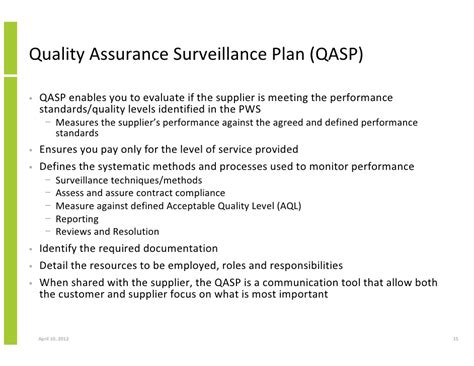 quality assurance surveillance plan template taking a performance based services approach to improve