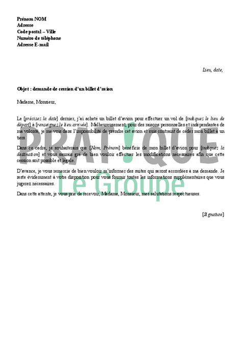 Modèle De Lettre Vol En Entreprise lettre de demande de cession d un billet d avion pratique fr