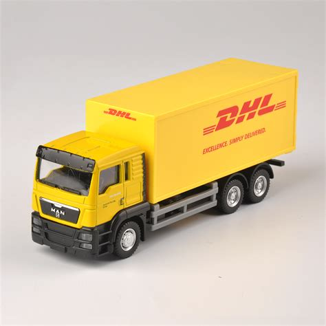 Diecast Truck diecast truck 1 64 scale express dhl truck model yellow container transporter toys