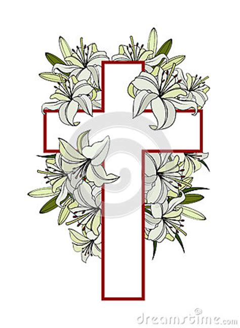 cross white lilies stock vector image