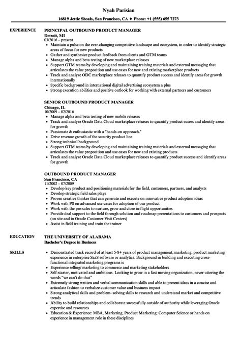 product manager resume exles outbound product manager resume sles
