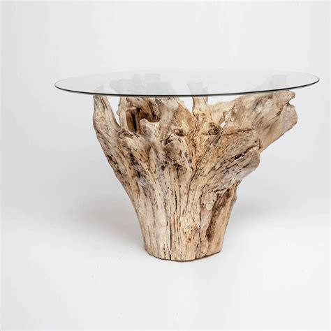 driftwood table with glass top for sale at 1stdibs