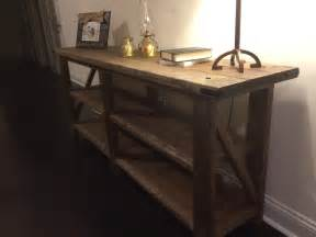 Wood Hallway Table Console Table Made From Reclaimed Wood With Storage For Rustic Hallway House Design Ideas