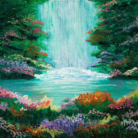 The Waterfall Original Acrylic Painting 12x12in