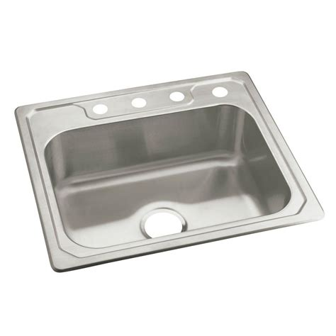 Single Bowl Drop In Kitchen Sink Kohler Vault Drop In Undermount Stainless Steel 25 In 4 Single Bowl Kitchen Sink With