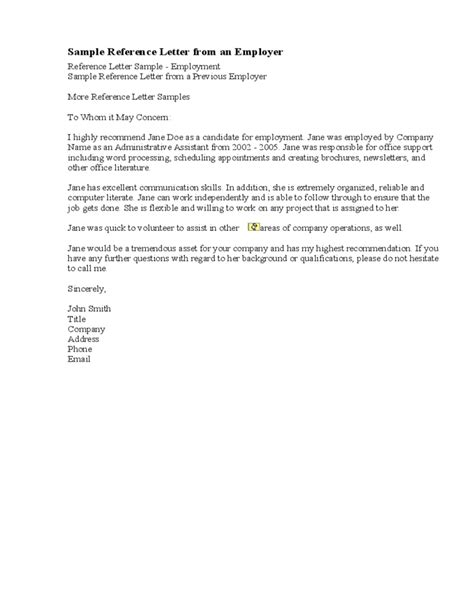 Sle Reference Letter From Previous Employer The Letter Sle Letter Of Recommendation Template From Employer