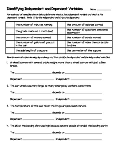 Independent And Dependent Variables Worksheet by Independent And Dependent Variables Worksheet Resultinfos