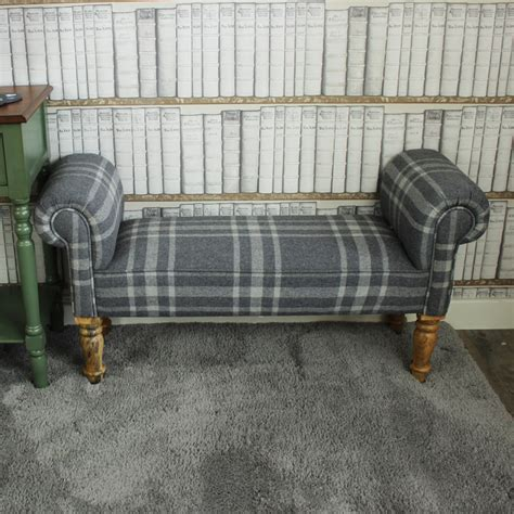 grey upholstered bench grey tartan upholstered bench chaise melody maison 174