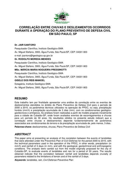 (PDF) CORRELAÇÃO ENTRE CHUVAS E DESLIZAMENTOS OCORRIDOS