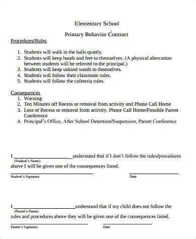 Sle Student Behavior Contract Forms 9 Free Documents In Word Pdf Behavior Contract Template Elementary