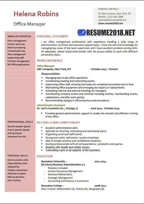 executive resume format 2018 office manager 2018 resume sles in word resume 2018