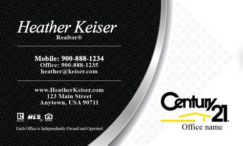 century 21 business card black and white design 102221