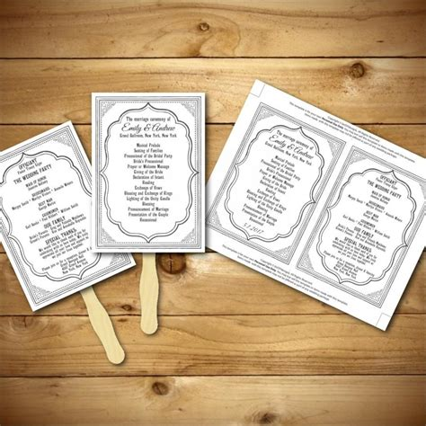 wedding program fans diy template wedding program template printable wedding program diy