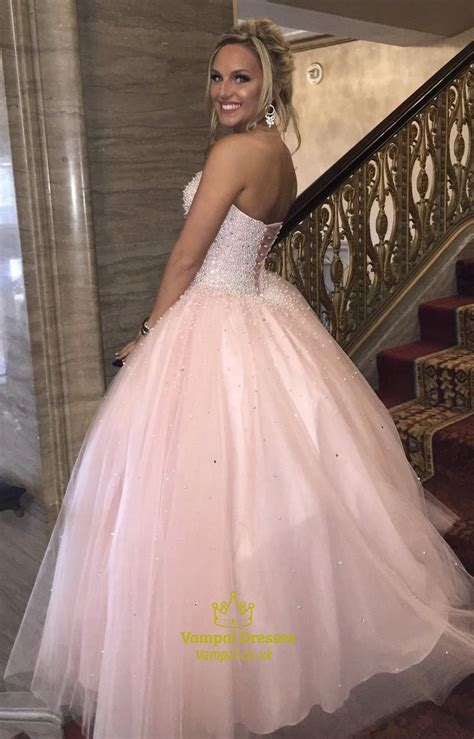 strapless beaded prom dress light pink strapless beaded bodice tulle gown prom
