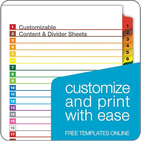color dividers onestep 174 printable table of contents dividers 1 31
