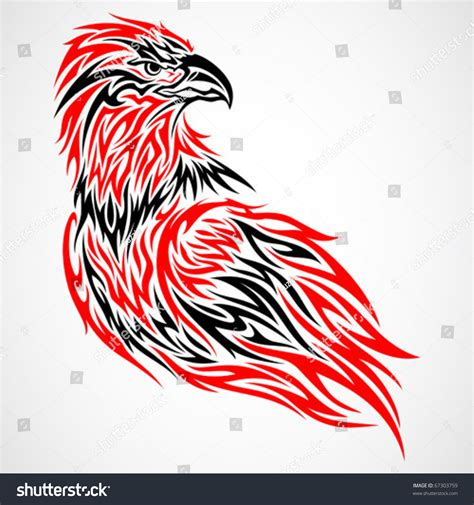 red and black tribal tattoos eagle tribal black stock vector 67303759