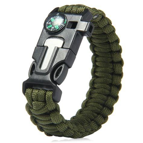 5 in 1 Outdoor Survival Gear Escape Paracord Bracelet Flint / Whistle / Compass / Scraper in
