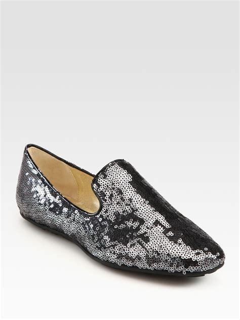 sparkly slippers lyst jimmy choo glitter slippers in metallic