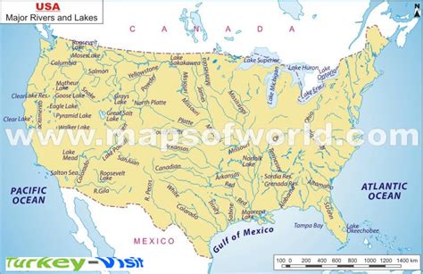 usa map with rivers labeled usa map