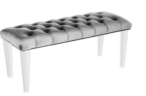 contemporary bedroom benches glamour bench light grey velvet like fabric