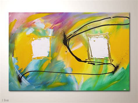 Acrylbilder Vorlagen Modern Moderne Kunst Abstraktes Bild I Live 90 X 60 Cm Gelb Bunt Acrylbilder Modern Kaufen