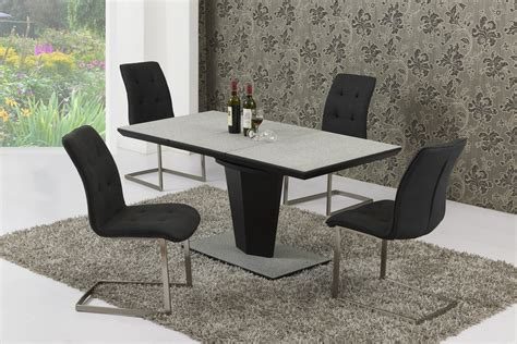 large extendable grey stone effect glass dining table
