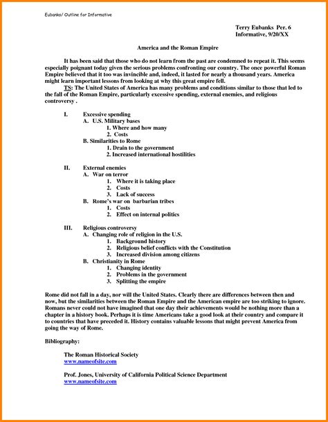 Outline For Informative Speech Template by Sle Informative Speech Outline Format