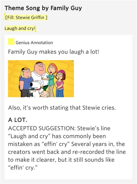 theme to family guy lyrics fill stewie griffin laugh and cry theme song by