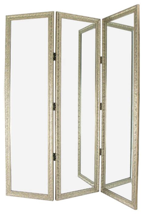 Dressing Screen Room Divider Wayborn Mirror With Frame Size Dressing Room Divider In Silver Contemporary Screens And