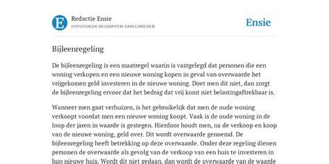 overwaarde huis na verkoop bijleenregeling de betekenis volgens redactie ensie