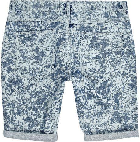 bleach pattern jeans river island light wash bleached pattern denim shorts in