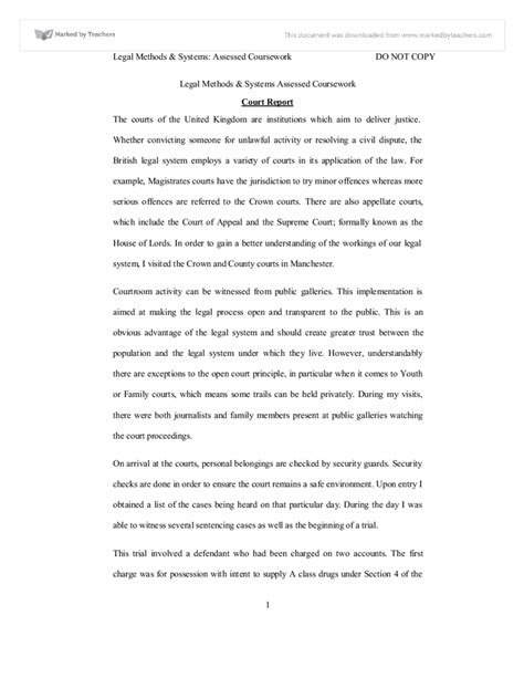 layout of a law report court report university law marked by teachers com