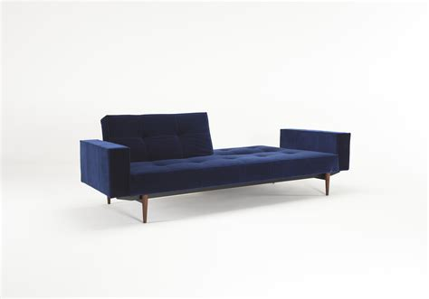 innovation splitback sofa splitback sofa bed w arms vintage velvet blue by innovation